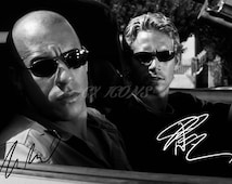 Vin Diesel and Paul Walker signed photo print - 12x8 inch - high quality - Fast & furious