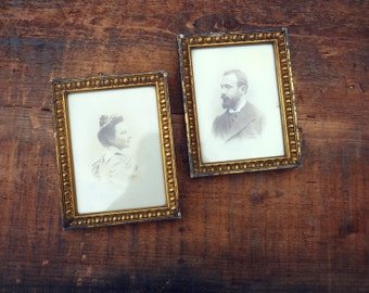 Portrait photography sepia couple - 2 Golden frames - male and female-XIX old photographs