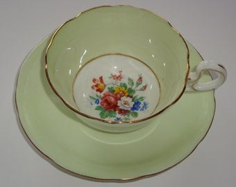 Aynsley Minty Green Floral Center Tea Cup and Saucer