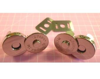 Magnetic Snaps 18mm Regular Size per set of 2 Nickel or Antique Brass