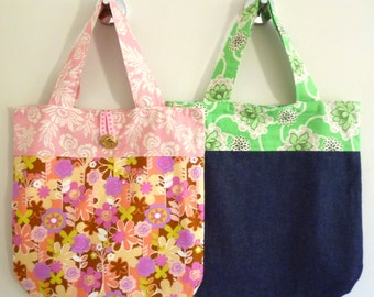 Genevieve Tote Bag PDF Pattern Beginner Friendly, plus Mini Tote with a cute bow for little girls bag