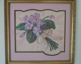 African Violets - Mixed Media Painting on Canvas