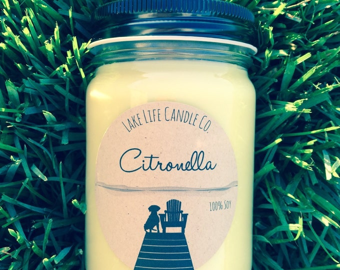 Citronella Handmade Soy Candle: Lake Life Candle Co. Made in WI