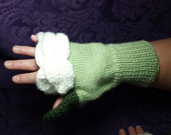 Rose Fingerless Gloves - White Rose
