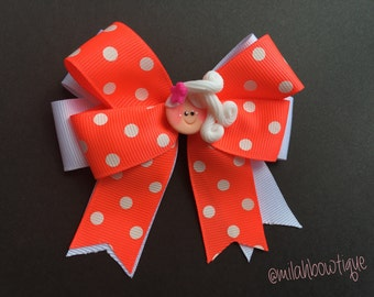 Orange and White Polkadots Hair Bow