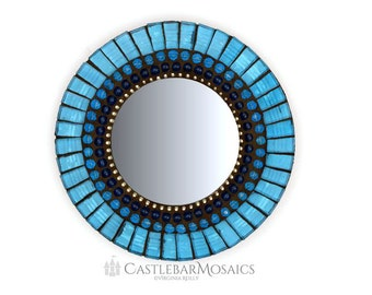 Round Blue Mirror, Mosaic Wall Mirror, Small Accent Mirror