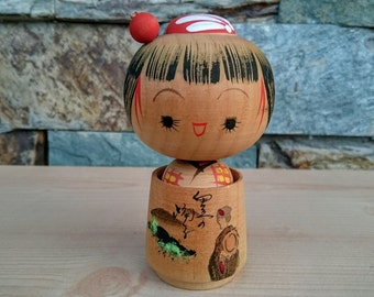 Vintage Japanese Girl Kokeshi Doll in a Tub