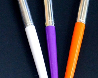 KIDS CHUBBY PAINTBRUSHES! Easy to Hold in Little Hands / Art - Crafts / Lot of Three / Round Bristles