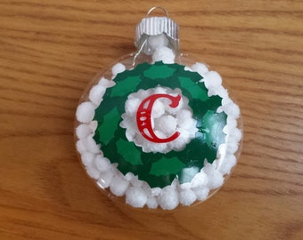 Christmas Wreath with Initial Glass Ornament