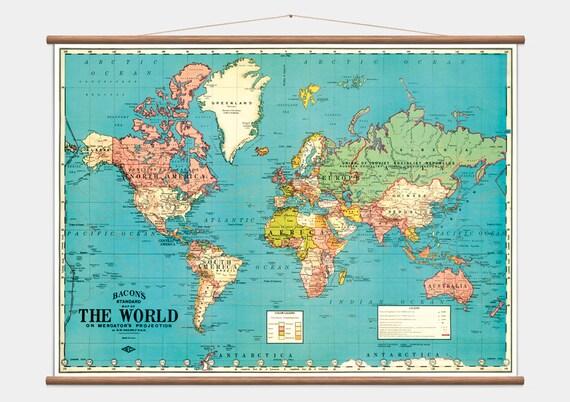 VINTAGE SCHOOL PULL Down World Map 1964 Teaching Display - $154.82 ...
