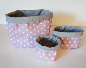 Reversible cotton fabric 3 baskets all sizes