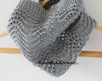 Women Spring Scarf, Gray Spring Scarf, Handmade Scarf, Knitted Scarf, Knit Circle Scarf, Snood, Cowl Scarf Snood, Scarf