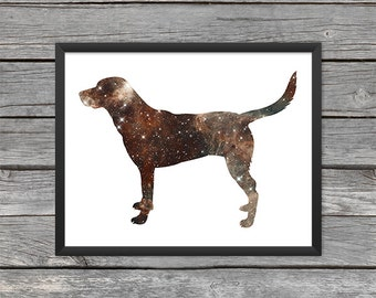 Labrador Retriever Poster Labrador Art Labrador Print Chocolate Lab Dog Print Dog Art Space Art Galaxy Art Nebula Art Instant Download