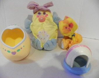 Vintage Fisher Price 1987 Smooshees  , Itty Bitty Kitty and Easter Dazzle Duck , Collectible  Cuddler Soft Toys