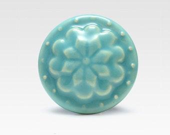 Ceramic knob, turquoise, vintage