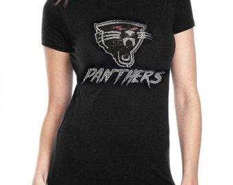 Carolina Panthers  Rhinestone Bling  T-Shirt top