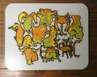 Vintage Astrological Signs Glass Cutting Board