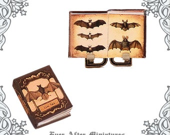 BAT Dollhouse Miniature Book – 1:12 Bat Miniature Encyclopedia Antique Bat Book – Vampire Bat Halloween Miniature Book Printable DOWNLOAD