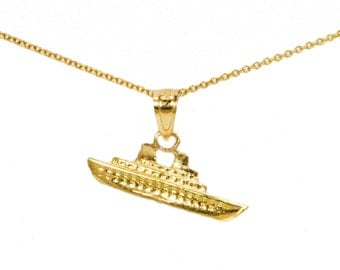 10k Yellow Gold Ship Necklace, Sailing Jewelry Hobby Jewelry Gift Gold Birthday Gift, 10k Yellow Gold Cruise Ship Light Pendant, Ship Charms