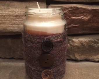 Handmade hot cocoa scented jar candle