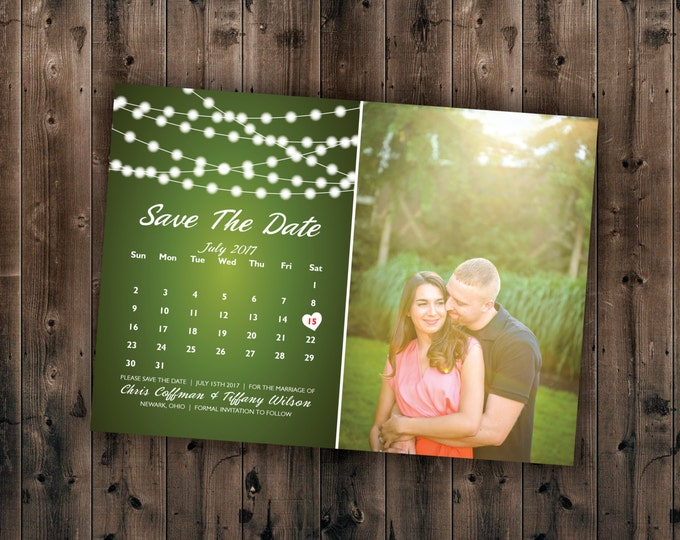 Calendar and Photo Save the Date cards Printed - Postcard, Lights, Calendar, Photo, Cheap, Affordable, Photographic, Green, Blue, Gold, Red