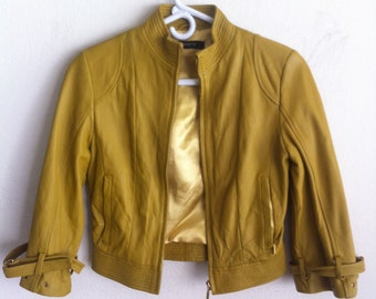 XS Orange leather jacket