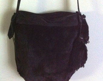 Crossbody bag, real mink fur and leather handbag, handmade bag, black color, size - medium