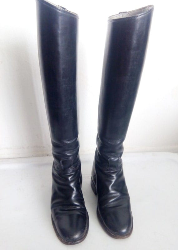 black unisex boots real vintage boots shining