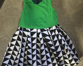 Green and scuba print dress.
