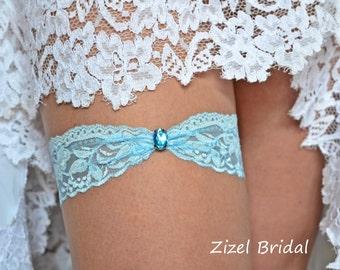 1 Wedding Garter, Blue Wedding Garte, Bridal Garter, Rhinestone Garter, Lace Aqua Garter, Something Blue,Toss Garter, Aqua Lace Garter