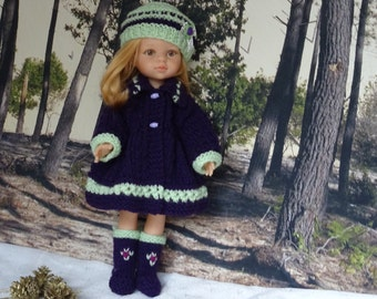 "COAT, HAT and BOOTS for Doll 13/14"". Knitting, Wool purple and green, handmade with care and harmony. French touch."