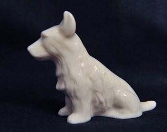 Vintage Belleek Pottery - Scottish Highland Terrier Dog Ornament