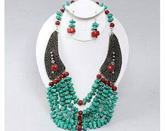 Beaded Turquoise winged Necklace