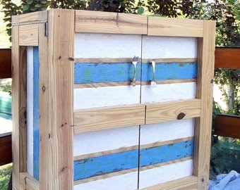 Recycled American pine wood cabinet.