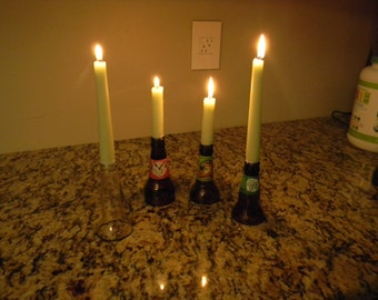 Beer bottle top candle holders