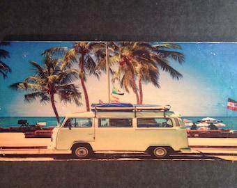 Wood Transfer Hippie Bus on Beach
