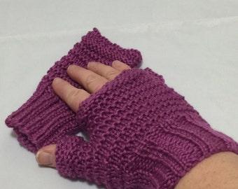 Fingerless driving gloves plum color #1013