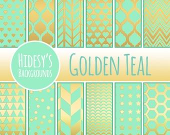 "Teal and Gold Digital Paper / Background / Pattern ""GOLDEN TEAL"""