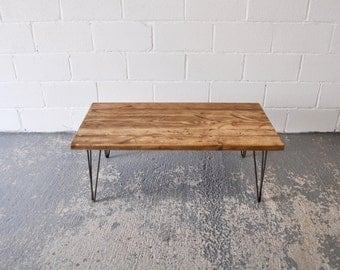 Reclaimed Wood Coffee Table Industrial Rustic Vintage Scaffold Wood Table Rustic Scaffold Board Furniture Steel Hairpin legs Bespoke Table