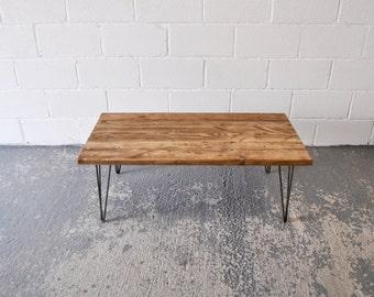 Reclaimed Wood Coffee Table Industrial Rustic Vintage Scaffold Wood Table Rustic Scaffold Board Furniture Steel Hairpin legs Bespoke Table