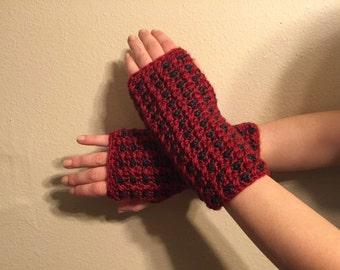 Red and Blue Fingerless Gloves (Medium)