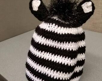 Teen/Adult sized Zebra crocheted hat