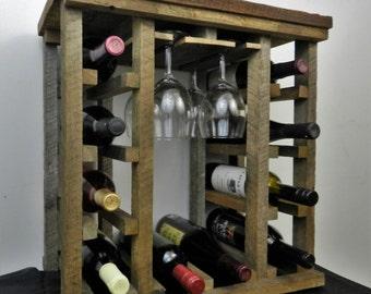 10 Bottle Rustic Wooden Wine Rack , Tabletop Barnwood Wine Rack , Wine Glass Rack , Unique , Handmade , Reclaimed Wood