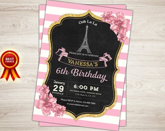 Paris Invitation. Paris 1st Birthday Invitation Girl Pink and Gold Paris Theme Party Invitation  Printable Eiffel Tower Invitation. Oh la la