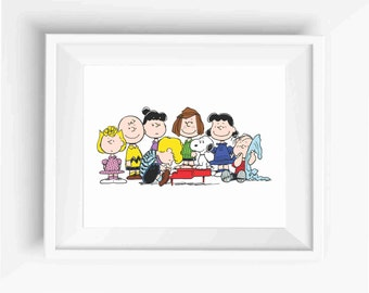 THE PEANUTS GANG,Snoopy,Woodstock,Charlie Brown,digital prints,Kids Room Decor,Nursery Decor,Baby Gift,Instant Download,Wall Decor