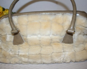 Vintage Cream colored faux fur purse - fake fur handbag with handles and zipper