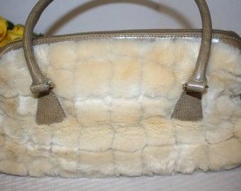 Vintage Cream colored faux fur purse - fake fur handbag with handles and zipper