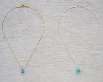 Simple Dainty Turquoise Necklace  |  Silver and Golden Turquoise bead necklace