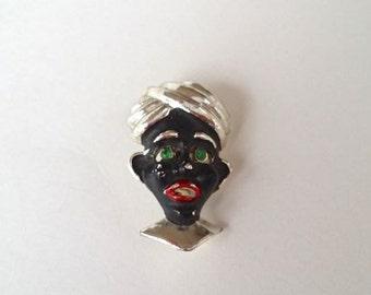 Vintage Blackamoor Turban Enameled Brooch