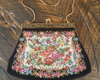 Vintage Petit Point Floral Tapestry Purse